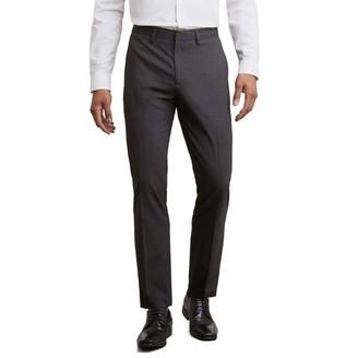 Kenneth Cole Reaction Men's Stretch Glen Plaid Flat Front Slim Fit Pant