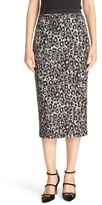Tracy Reese Leopard Print Crepe Pencil Skirt