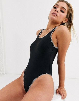 Luxe Palm Scoop Back Swimsuit with White Blanket Stitch