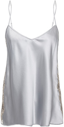 I.D. Sarrieri Embroidered Tulle-trimmed Silk-blend Satin Camisole