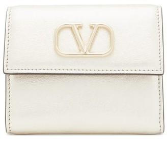 Valentino V-logo Metallic-leather Wallet - Womens - Gold