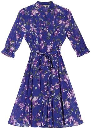 Nanette Lepore Floral Long Sleeve Tie Waist Fit & Flare Shirt Dress