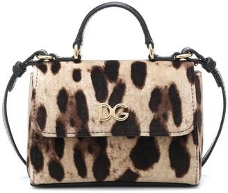 Dolce & Gabbana Kids Leopard-print velvet shoulder bag