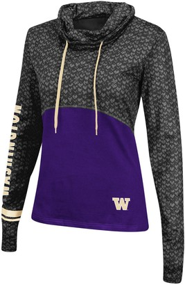 Colosseum Women's Black/Purple Washington Huskies Scaled Cowl Neck Pullover Hoodie