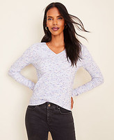 Ann Taylor Flecked Ribbed V-Neck Sweater