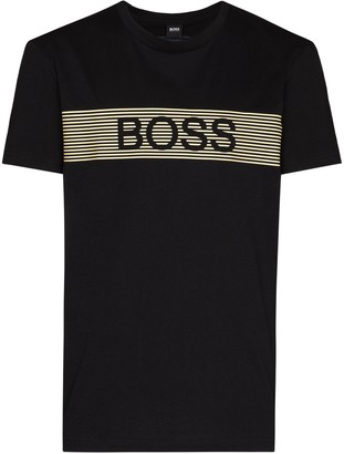 HUGO BOSS stripe logo print detail T-shirt