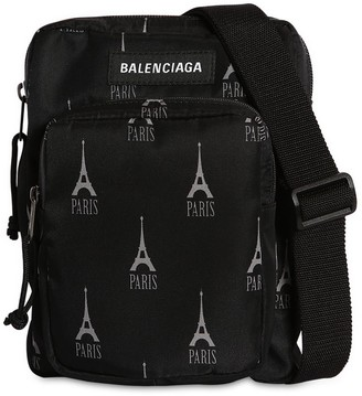 Balenciaga Tour D'eiffel Printed Nylon Crossbody