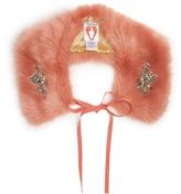 SHRIMPS Lucy embellished faux-fur collar