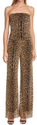 Fuzzi Leopard Print Strapless Mesh Jumpsuit