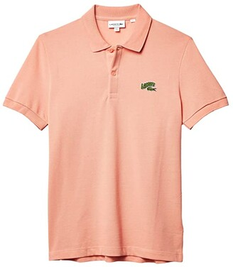 Lacoste Short Sleeve Solid Polo Embroidered Animation Badge on Chest Greet (Elf Pink) Men's Clothing