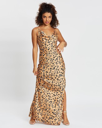 Missguided Petite Animal Cowl Strappy Maxi Dress