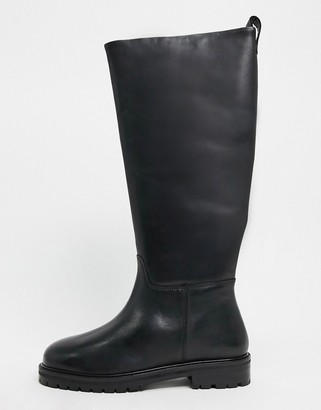 ASOS DESIGN Cassandra leather pull-on knee boots in black