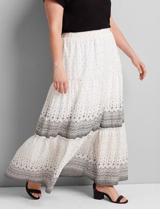 Lane Bryant Printed Tiered-Seam Maxi Skirt