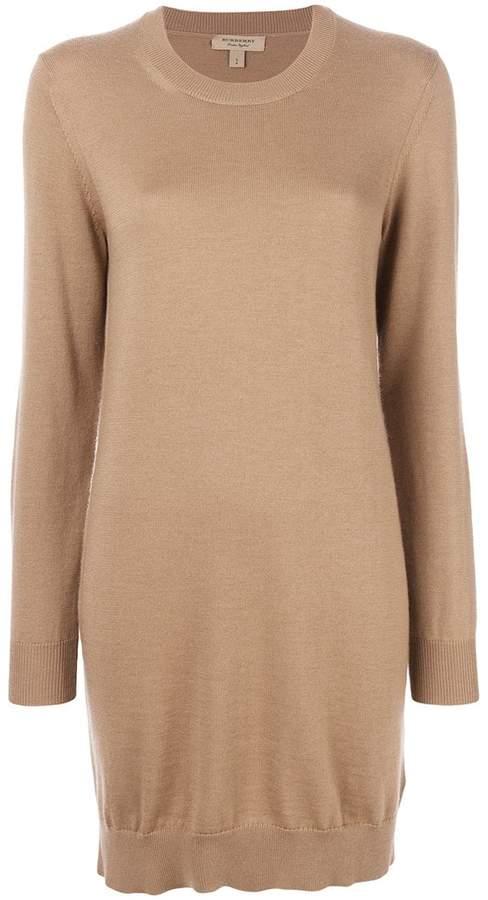 Burberry Check Elbow Detail Merino Wool Sweater Dress