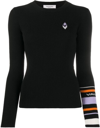 Valentino Geometric-Detail Ribbed Jumper