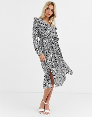 Glamorous midi dress with ruffle detail in ditsy floral-Black
