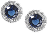 Giani Bernini Sterling Silver Blue Cubic Zirconia Halo Stud Earrings, Only at Macy's