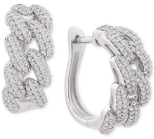 """Wrapped in Love Diamond Chain Link Detail Small Hoop Earrings (1 ct. t.w.) in Sterling Silver, .79"""", Created for Macy's"""