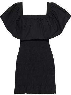Solid & Striped Ruffled Shirred Cotton-poplin Mini Dress