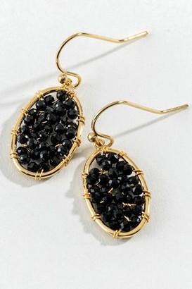 francesca's Jocelyn Beaded Oval Drop Earrings - Black