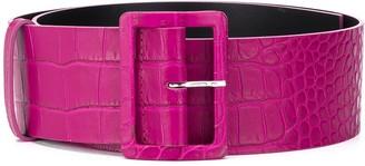 MSGM Crocodile-Embossed Leather Belt