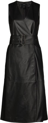 Joseph Dibo belted leather midi dress