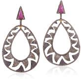 Champagne and Black Diamonds Interlocking Claw Earrings