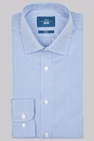 Moss Bros Slim Fit Navy Single Cuff Skinny Stripe Shirt