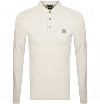 BOSS Long Sleeved Polo T Shirt Beige