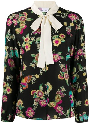 RED Valentino floral print bow tie blouse