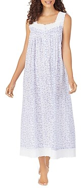 Eileen West Cotton Floral Print Eyelet Lace Ballet Nightgown