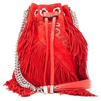 Christian Louboutin Marie-jane Laser-cut Logo Fringed Suede Bucket Bag - Womens - Red