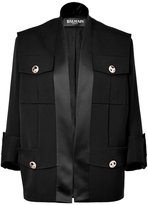 Balmain Black 3/4 Sleeve Wool-Blend Open Jacket