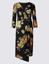 Marks and Spencer Printed 3/4 Sleeve Drape Bodycon Dress