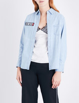 Mo&Co. Racing embroidered-detail denim shirt