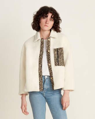 Lush Leopard Detail Faux Fur Jacket