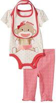 Baby Starters Baby Girl Sock Monkey 3-pc. Bodysuit, Pants & Bib Set