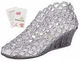 Donalworld Girl Summer Peep-Toe Wedge Jelly Shoes Plastic Rain Sandals Asian Size 38