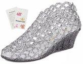 Donalworld Girl Summer Peep-Toe Wedge Jelly Shoes Plastic Rain Sandals Asian Size 38