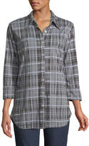 Allen Allen Plaid 3/4-Sleeve Blouse