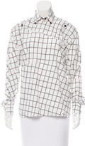 Tomas Maier Windowpane Print Collared Top w/ Tags