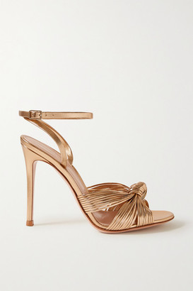 Gianvito Rossi Portia 105 Knotted Metallic Leather Sandals - Gold