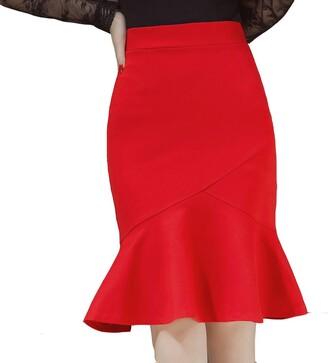 TEERFU Womens OL Mermaid Pencil Skirt Bandage Knee Length Vintage Office Dress
