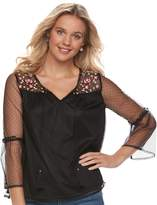 Mudd Juniors' Embroidered Mesh Bell-Sleeve Peasant Top
