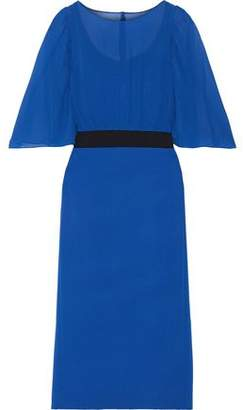 Akris Chiffon-paneled Silk Crepe De Chine Dress