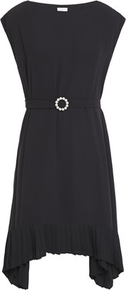 Claudie Pierlot Asymmetric Faux Pearl-embellished Belted Crepe De Chine Dress