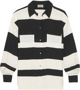 Lanvin Striped Stretch-crepe Shirt - Black