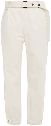 Brunello Cucinelli Cropped Belted Cotton-twill Tapered Pants