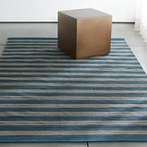 Crate & Barrel Sachi Teal Stripe Indoor/Outdoor Rug