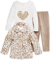 Nannette 3-Pc. Faux-Fur Jacket, Top & Leggings Set, Baby Girls (0-24 months)